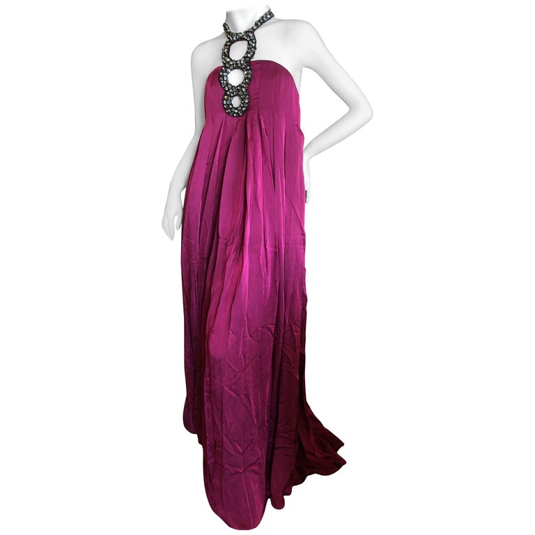 Azzaro Iconic Red Keyhole Evening Gown with Crystal  Details