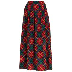 Yves Saint Laurent  Red Multicolored Plaid Full Maxi Skirt YSL , 1970s