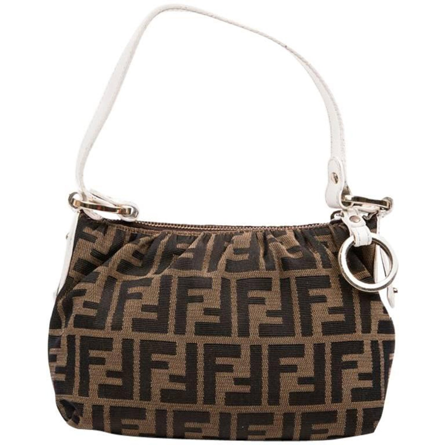 Fendi Brown Canvas and White Leather Mini Bag at 1stdibs 1467d1ed3fe