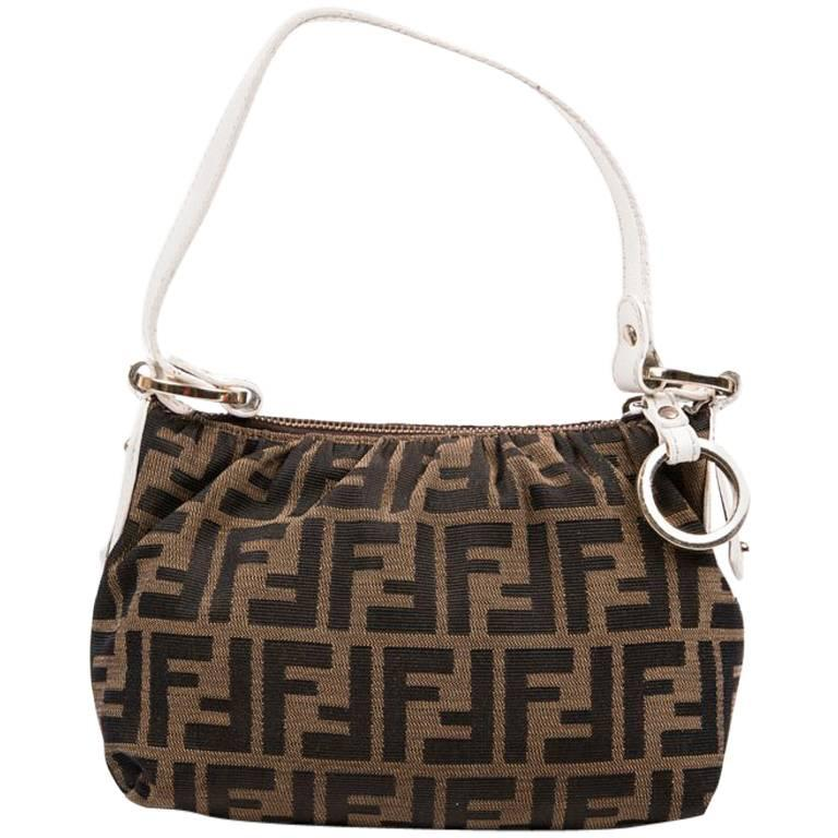 Fendi Brown Canvas and White Leather Mini Bag