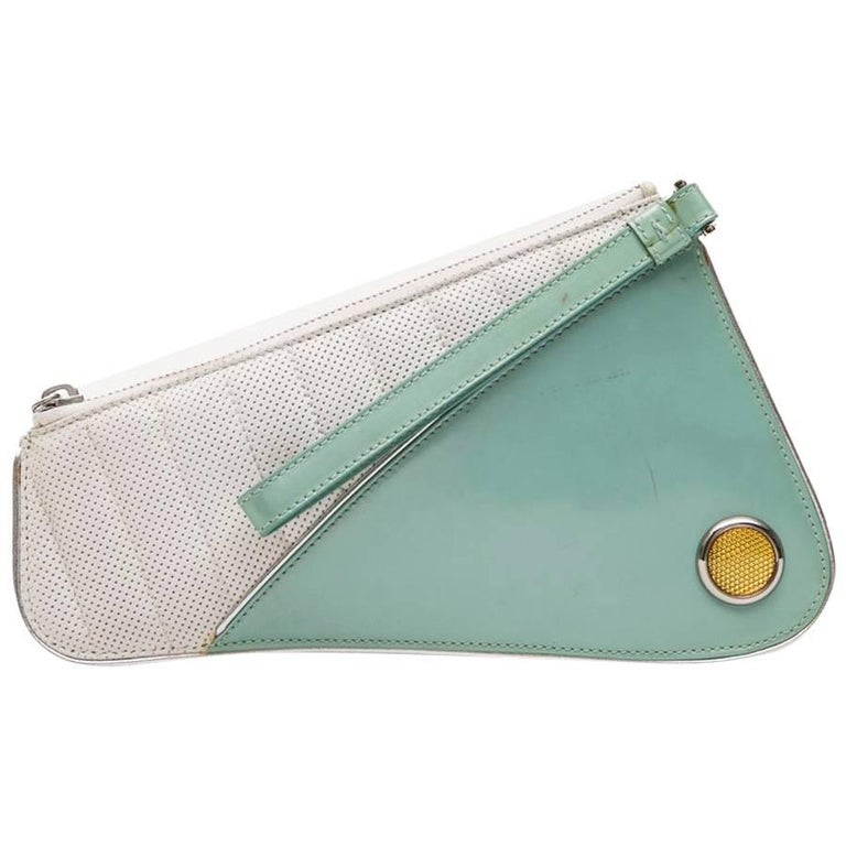 CHRISTIAN DIOR Vintage Clutch in Perforated White Leather and Blue Vinyl