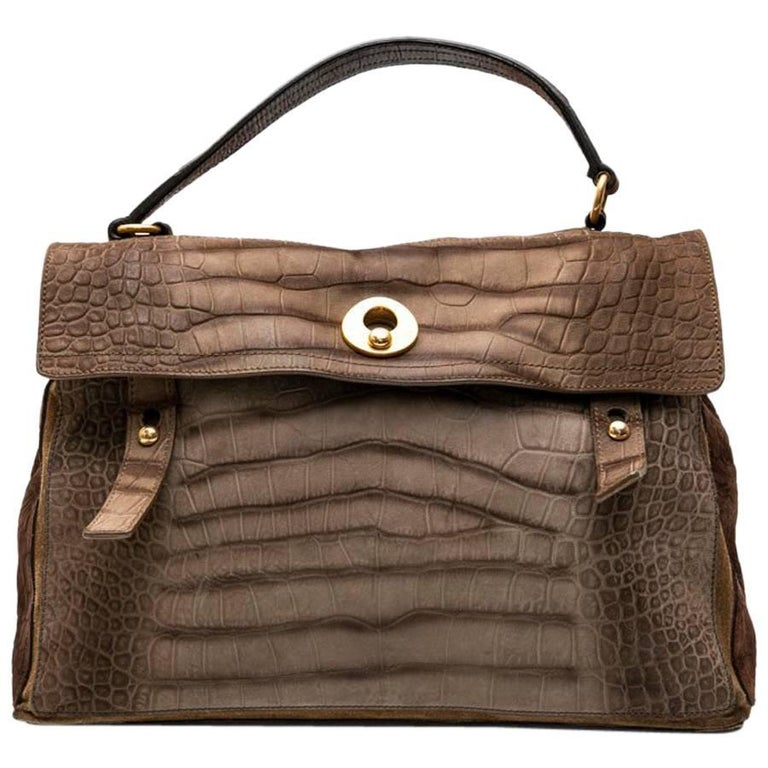 c7d99efeb84 Yves Saint Laurent Muse II Crocodile Pattern Brown Leather Bag For Sale