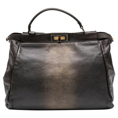 Fendi Kaboo Large Brown Grained And Aged Gold Leather Bag