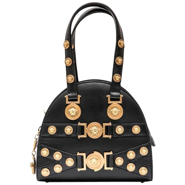 "Versace ""Tribute""' Bowling Bag in Soft Black Calfskin Leather"
