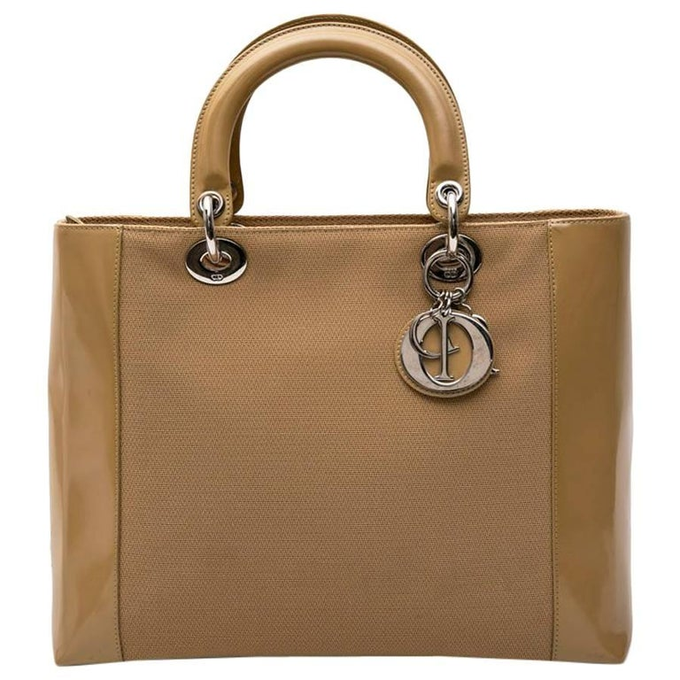 "Christian Dior ""Lady D"" Beige Canvas and Beige Patent Leather Bag"