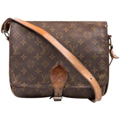 LOUIS VUITTON Cartouchière Bag in Brown Monogram Canvas and Natural Leather