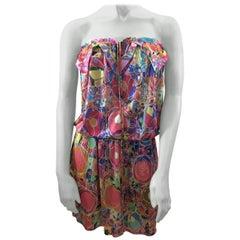 Chanel Print Silk Strapless Dress