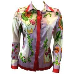 Versace Print Silk Button Up Blouse