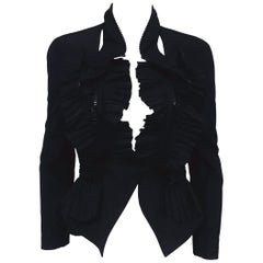 Givenchy Black Pleated Jacket with Multiple Zippers at Waist / Collar / Front