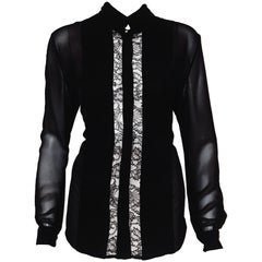 Roberto Cavalli Black Silk Chiffon and Lace Panels with  Long Sleeve Blouse