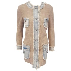 Dolce & Gabbana Beige Textured Cotton with Frayed Blue Jean Trim Long Jacket
