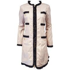 Love Moschino Beige with Black Ruffled Trim Raincoat