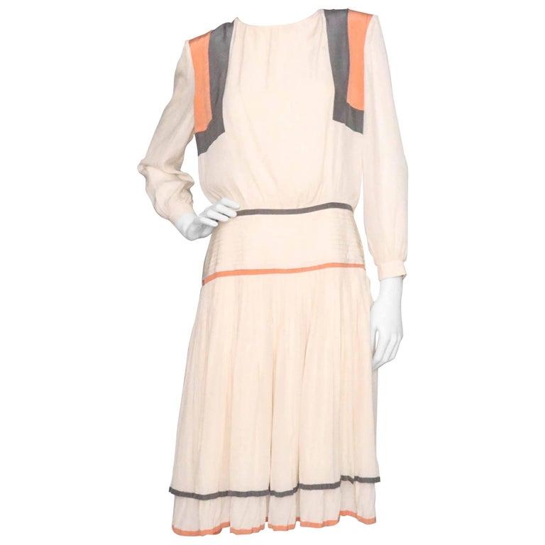 Valentino Vintage White Silk Drop Waist Dress, 1980s  For Sale