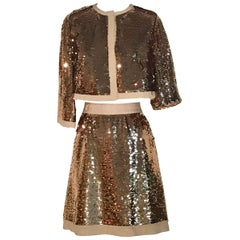 Dolce & Gabbana Gold Sequin Cropped Jacket and Pencil Skirt Suit Set