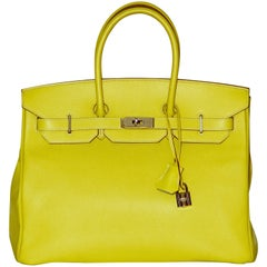 Hermes Birkin 35 Handbag Bicolor in Lime and Grey Epsom Leather