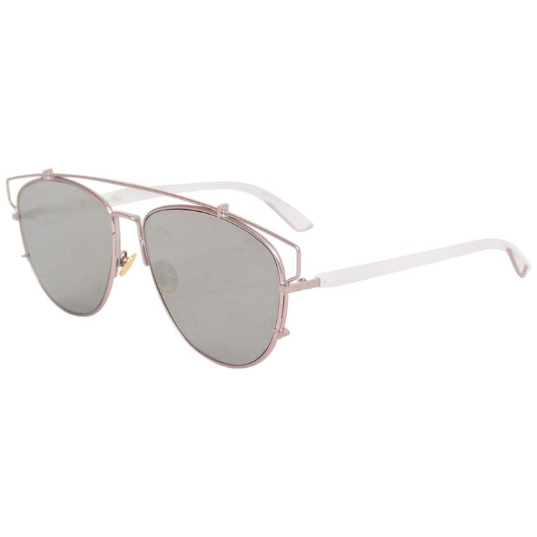 ffc0195b65cb9 Christian Dior White   Pink Mirrored Technologic Sunglasses with Case For  Sale