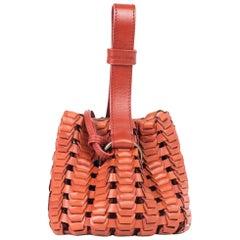 Roberto Cavalli Copper Orange Leather Tassel Bucket Bag