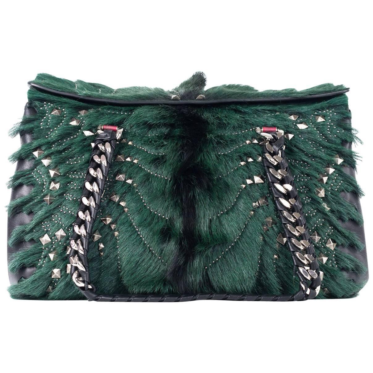 1stdibs Roberto Cavalli Regina Medium Radiant Studded Green Leather Satchel D1Yh7GehQW