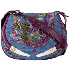 Roberto Cavalli Denim Floral Embroidered Embellishment Shoulder Bag