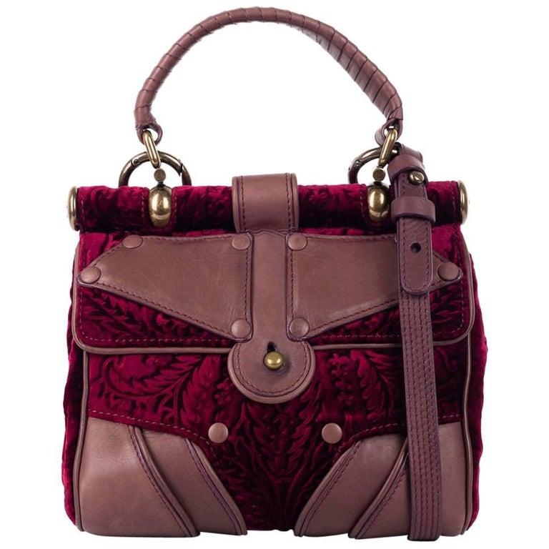 b2003acf61 Roberto Cavalli Red Brown Velvet Leather Top Handle Shoulder Bag For Sale