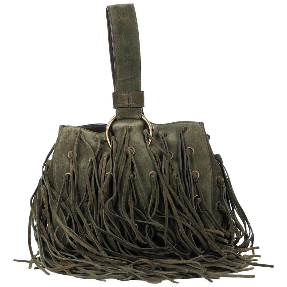 Roberto Cavalli Army Green Suede Eyelet Fringe Wristlet Bucket Bag ekbB0U0jA