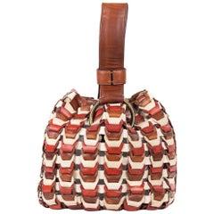 Roberto Cavalli Solid Tricolor Black Brown Wristlet Bucket Bag