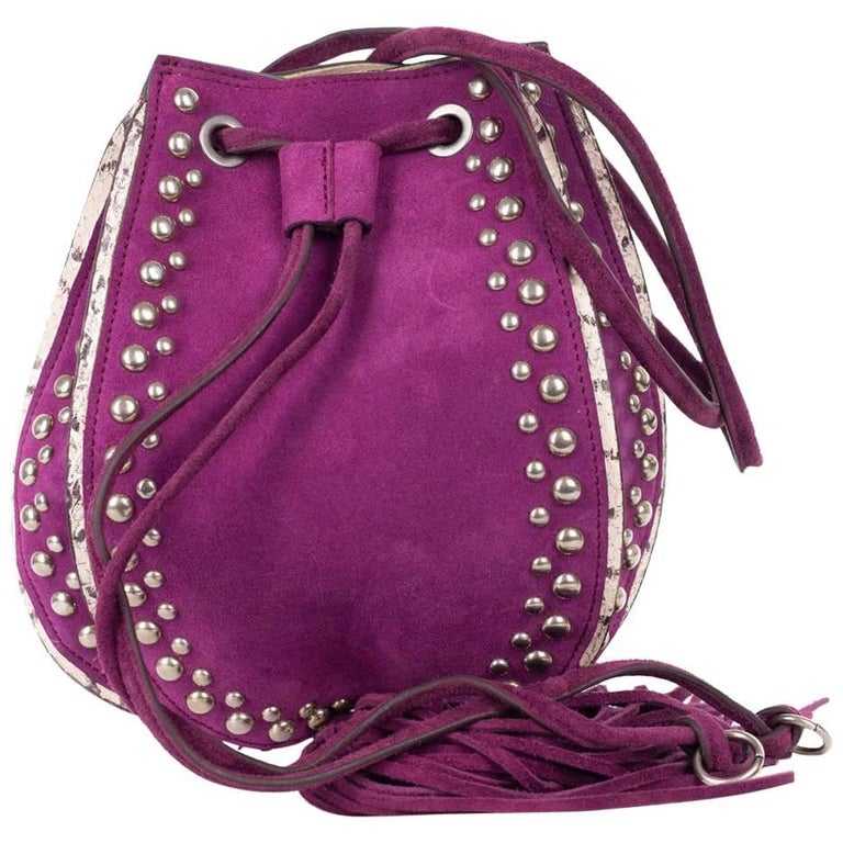 Roberto Cavalli Purple Violet Suede Studded Tassel Cross body Bag