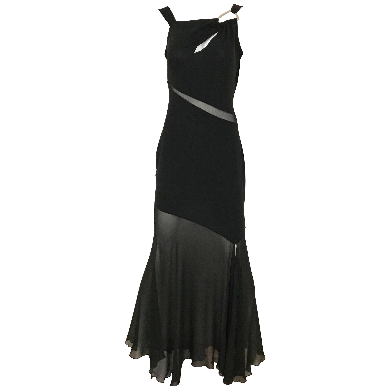 Claude Montana Black Silk Cut Out Gown, 1990s