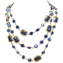 Chanel Gold and Blue Chicklet Necklace