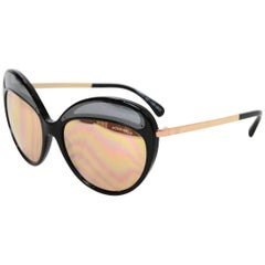 Chanel Black and Rose Gold Butterfly Mirror Sunglasses