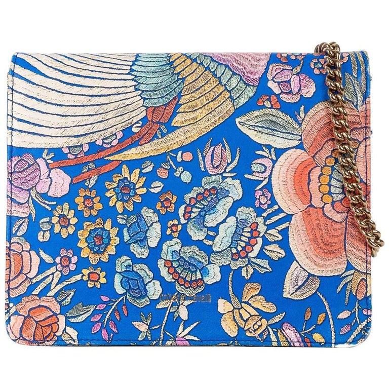 Roberto Cavalli Blue Leather Floral Flower Print Shoulder Bag