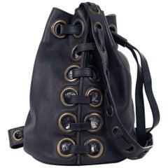 Roberto Cavalli Solid Charcoal Gray Large Eyelet Tote Bucket Bag