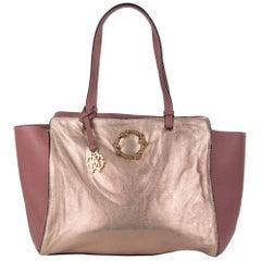 Roberto Cavalli Pink Mauve Metallic Leather Fur Lined Tote Bag