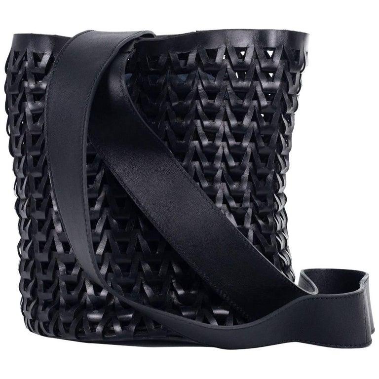 Roberto Cavalli Solid Black Leather Braided Woven Shoulder Bucket Bag