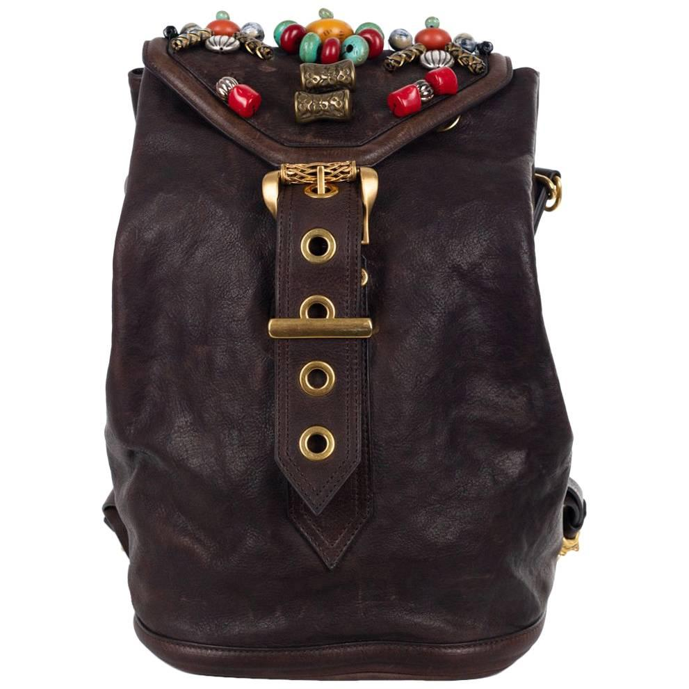 Roberto Cavalli Solid Brown Calfskin Leather Metal Appliques Backpack CVLSXOl1