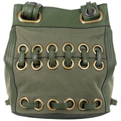 Roberto Cavalli Solid Army Green Large Eyelet Canvas Leather Bucket Bag