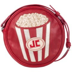 Just Cavalli Red Leather Popcorn Round Crossbody Bag