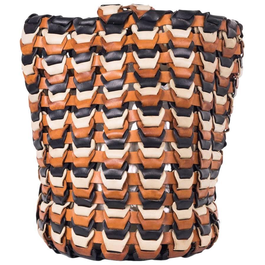 Roberto Cavalli Solid Tricolor Black Brown Bucket Bag lI2w6wuCjx