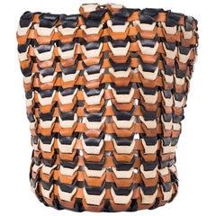 Roberto Cavalli Solid Tricolor Black Brown Bucket Bag
