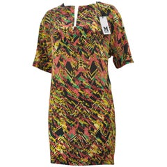 1cd358504 Kenzo Jungle Silk Floral/Honeycomb Print Silk Dress (42 Fr) For Sale ...