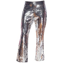 Dolce & Gabbana Silver Metallic Sequined Low-Rise Pants