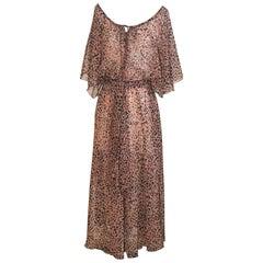 Diane von Furstenberg Vintage Black Pink Floral Print Sheer Dress Boho, 1980s