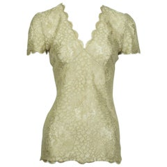 Emanuel Ungaro Gold Shimmery Lace Top with Sleeves - Medium