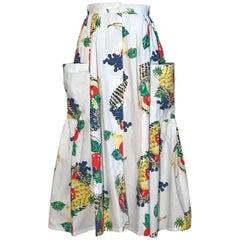 New Emanuelle 1980s Pineapple Grape Fruit Basket Print White Cotton Full Skirt