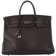Hermes Birkin Handbag Ebene Clemence with Palladium Hardware 40