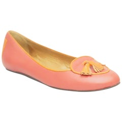 Lanvin Coral and Orange Tassel Loafers - 37.5