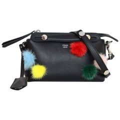 Fendi Black Leather & Mink Pom Pom Mini By The Way Crossbody Bag with Dust Bag