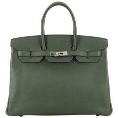 Hermes Birkin Handbag Vert Anglais Epsom with Palladium Hardware 35