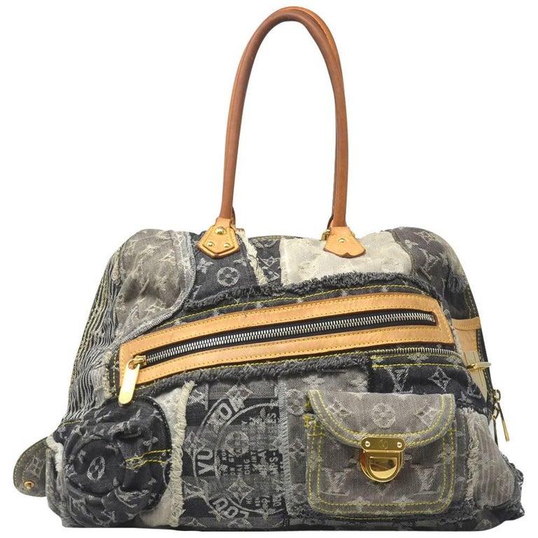 Louis Vuitton Denim Patchwork Bowly Black Shoulder Bag