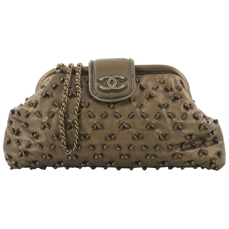 Chanel Knot Chain Frame Clutch Lambskin Large